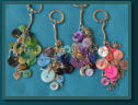 Green Heart, Blue Cat, Purple Owl & Pink Music Cluster Bag Charms / Keyrings