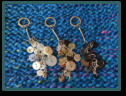 White Insect, Brown Tree & Black Star Cluster Bag Charms / Keyrings