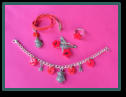 Red Star Set with Owl Child's Necklace and Bracelet and Star Ring