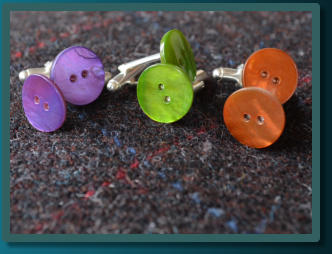 Mother of Pearl Button Cufflinks - Purple, Green and Burnt Orange
