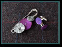 Grey & Purple Men's Kilt Pin Set with Purple Mother of Pearl Cufflinks